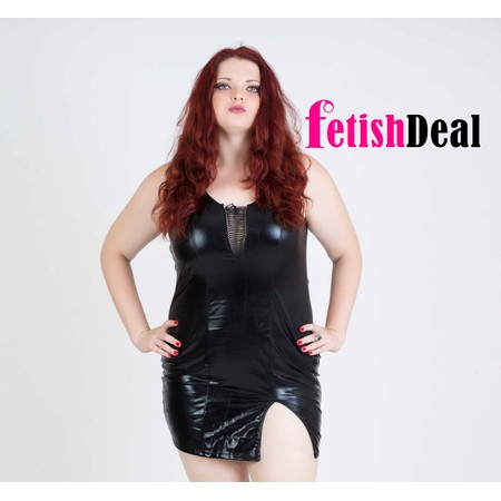 שמלה קצרה מבריקה עם שסע בצד ומחשוף בצבע שחור - מידות גדולות