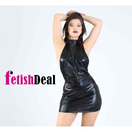 שמלה שחורה מבריקה קצרה עם מחשוף רשת עמוק - מידות גדולות
