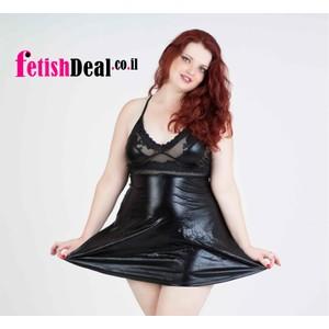 שמלה שחורה מבריקה עם חצאית מטרייה - מידות גדולות
