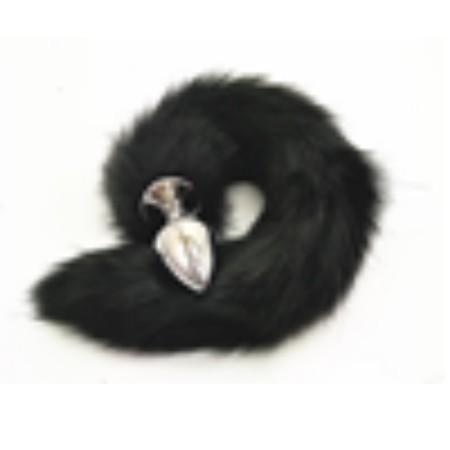 זנב ארוך בצבע שחור מפרווה סינטטית עם פלאג מתכת קטן