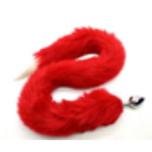זנב ארוך בצבע אדום עם קצה לבן מפרווה סינטטית עם פלאג מתכת קטן