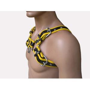 Bulldog H הרנס עור פרימיום שחור וצהוב מרופד