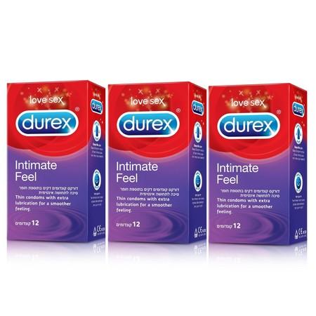 36 קונדומים דקים בתוספת חומר סיכה לתחושה אינטימית Durex Intimate Feel