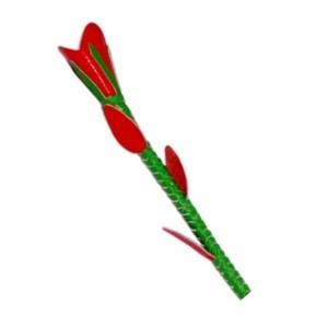 שוט רכיבה מעור איכותי בצורת פרח אדום לוהט 70 סמ