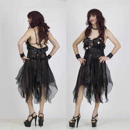 שמלת דראג שחורה ארוכה