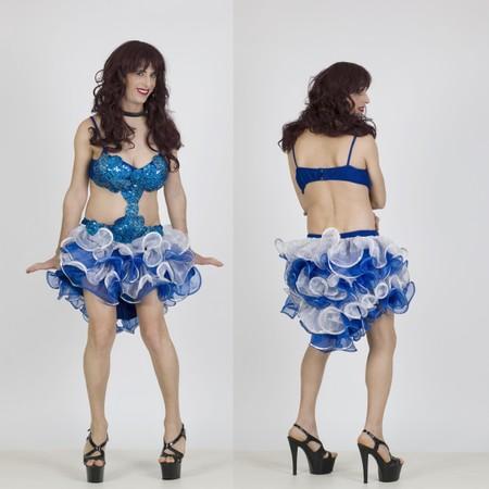 שמלת דראג כחולה עם מלמלה