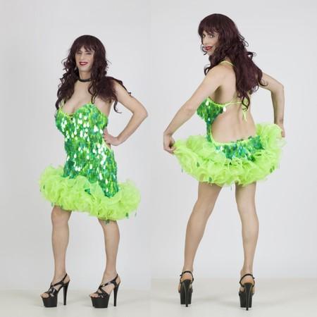 שמלת דראג ירוקה עם מלמלה