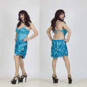שמלת דראג מיני בצבע טורקיז