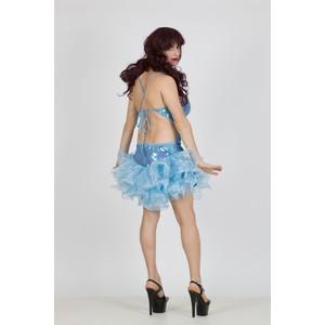 שמלת דראג בצבע תכלת עם מלמלה