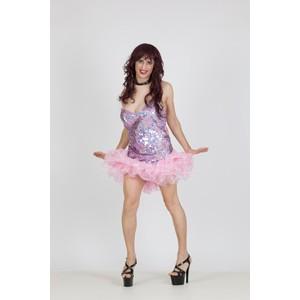 שמלת דראג בצבע ורוד בהיר עם מלמלה