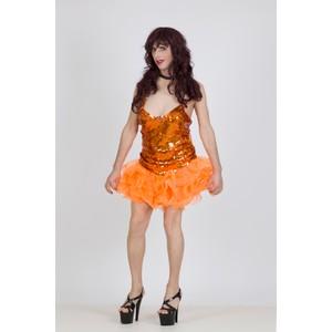 שמלת דראג בצבע כתום עם מלמלה