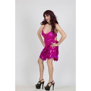 שמלת דראג מיני בצבע ורוד