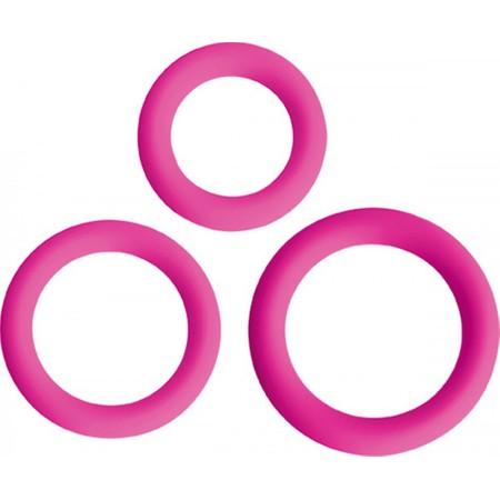 Love Ring Trio סט 3 קוקרינג בגדלים שונים מעוצב בצבע ורוד