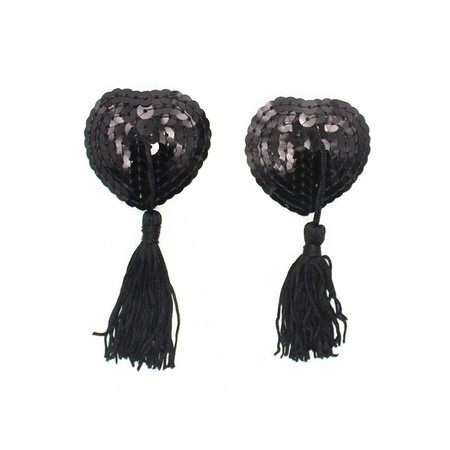 כיסויי פטימות פאייטים שחורים עם גדילים