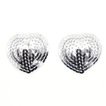 Heart-shaped silver sequined nipple covers