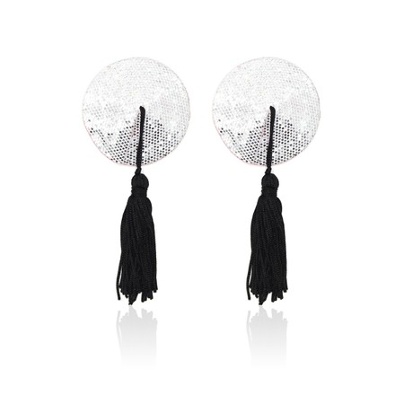 Silver nipple covers with burlesque stlye black strands