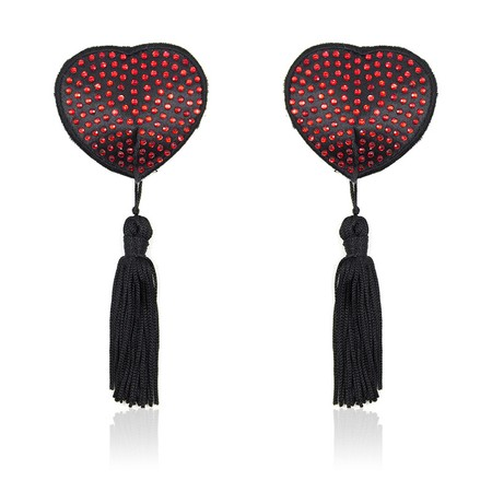 Heart-shaped black nipple covers with red stones and tassles