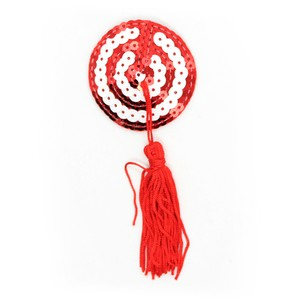 Red-white target patterned nipple covers with tassels