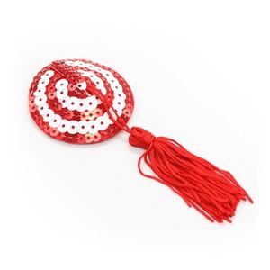 כיסויי פטמות בדוגמת מטרה אדום לבן עם גדילים