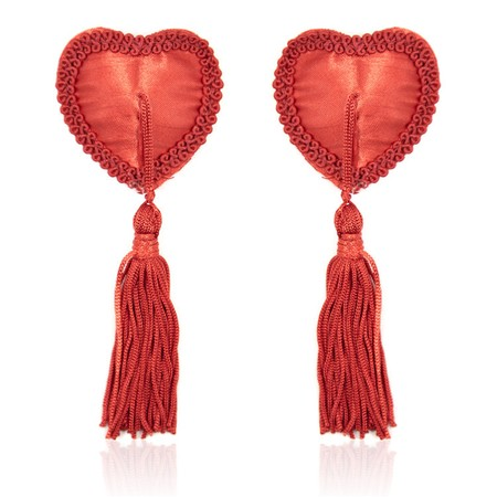Burlesque-style red heart nipple covers with tassels