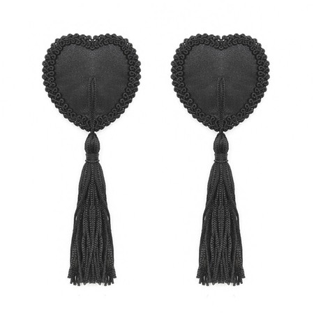 Burlesque style black heart nipple covers with tassels