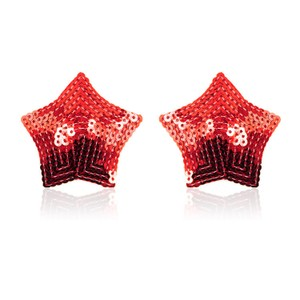 Star-shaped nipple stickers with red sequins