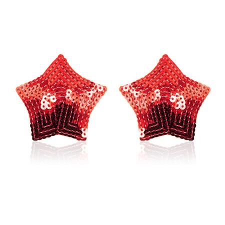 מדבקות לפטמות בצורת כוכב עם פאייטים אדומים
