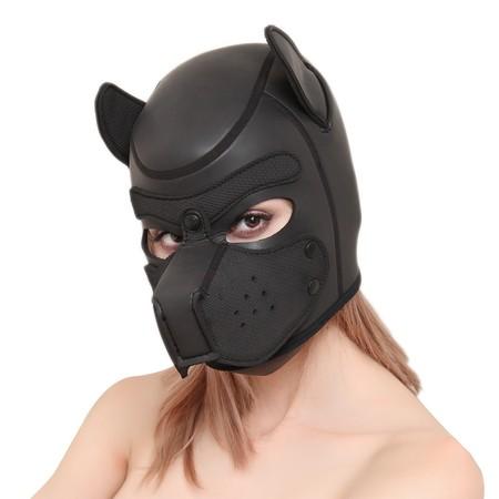 מסכת ראש כלב שחורה קטנה