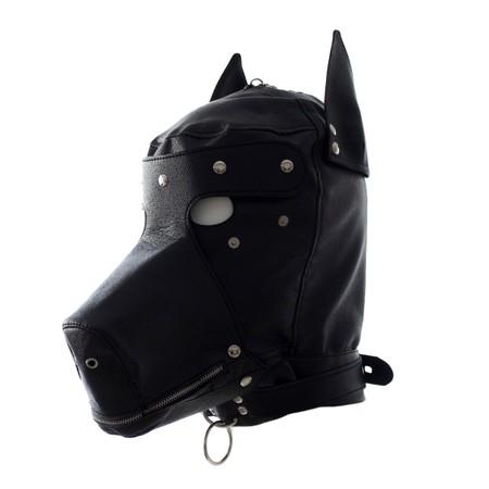 מסיכת ראש כלב עם טבעת לחיבור רצועה