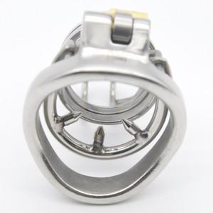 Locked in Prison Big חגורת צניעות לגבר ממתכת עם טבעת ניטים נשלפת