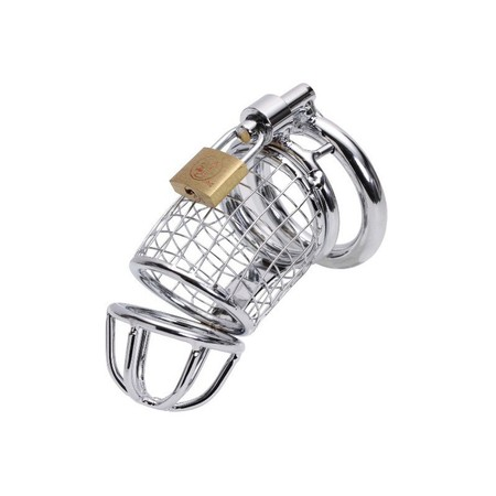 The Cage chastity belt for men made of silver metal with a lock and three rings in different sizes