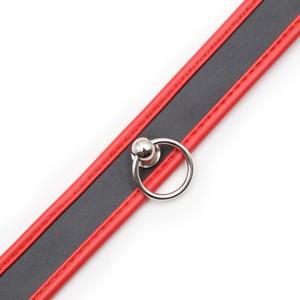 קולר שחור אדום עם טבעת