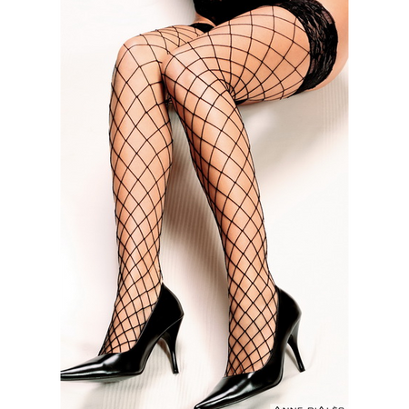 BAS AUTOFIXANT ERICA Mesh thigh high stockings with black lace and silicone stripes
