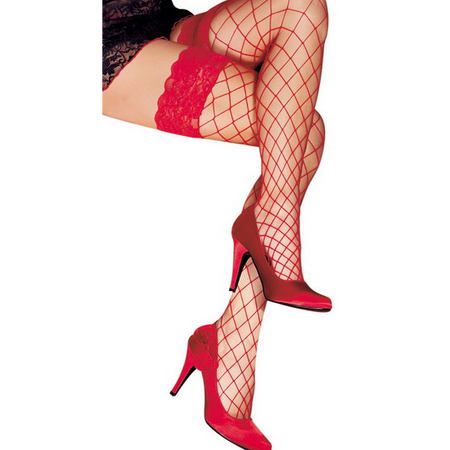 BAS AUTOFIXANT ERICA red  Mesh thigh high stockings with lace and silicone stripes