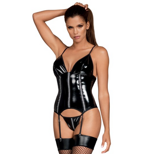 Stormea Corset Glossy black corset with adjustable garter L / XL