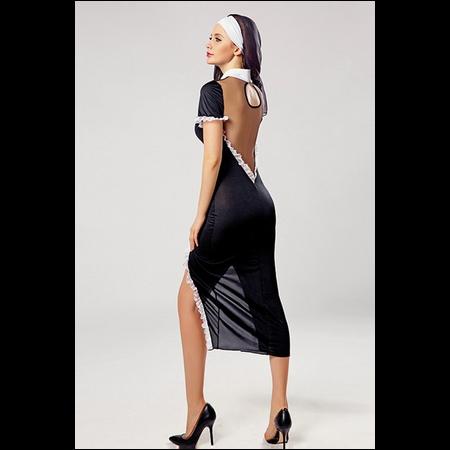 Naughty Nun Costume תחפושת שובבה של נזירה קצרה מקדימה ומאחור ארוכה עם מחשוף גב