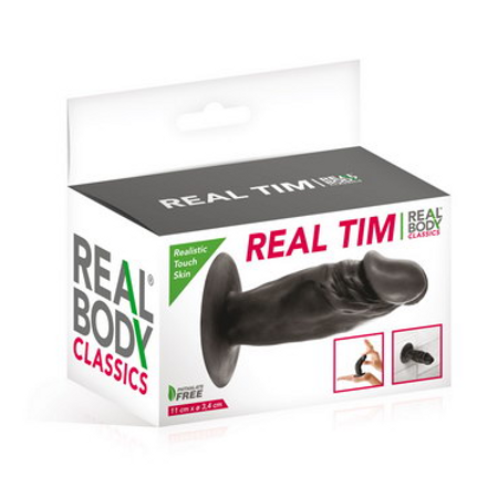 Real Body realistic black Butt Plug with a suction bottom 11 cm long