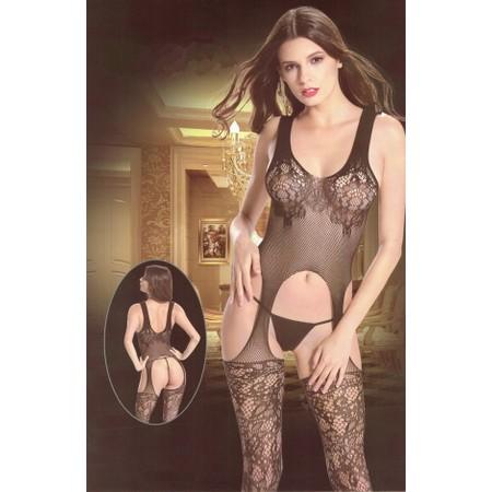 בגד גוף שחור רשת בסגנון תחרה