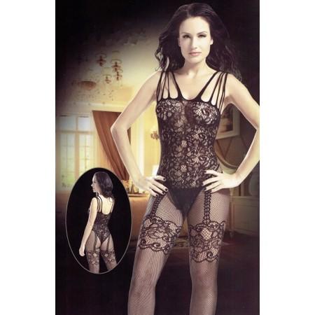 בגד גוף שלם סקסי מבד גרביון רשת בעיצוב תחרה