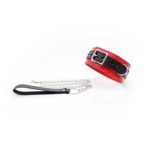 קולר משולב בשני צבעים אדום/שחור+רצועה - מבחר אביזרי מין