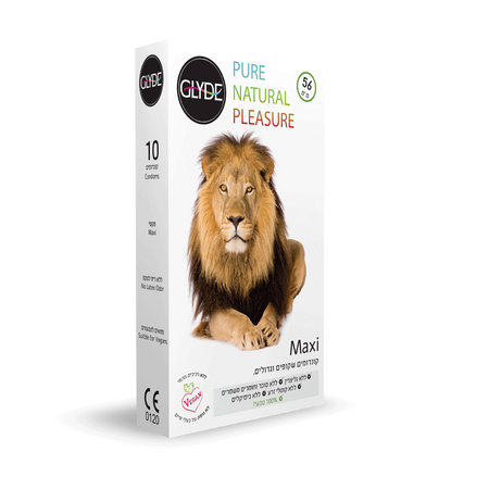 Glyde Maxi עשר קונדומים טבעוניים רוחב 56 ממ אורך 19 סמ