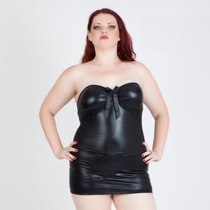 שמלת מיני דמוי עור פתוחה מאחורנית