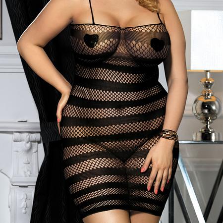 שמלת מיני רשת מפוספסת L-XL