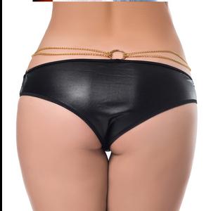 תחתון סקסי דמוי עור עם שרשראות M-5XL